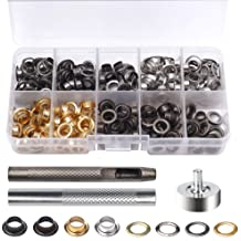 100 Sets Grommet Tool Kit,Sonku 1//4 Inch Inside Diameter Grommets Eyelets with 3 Pcs Install Tool and Storage Box-Silver