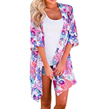 Summer Tops for Women 2019 Prime Tronet Womens Fashion Middle Sleeve Chiffon Print Sandy Beach Cardigan Smock Easy Blouse Tops