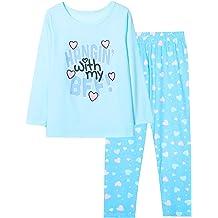 Big Girls Cotton Pajamas Size 6-16 Pants /& Long Sleeve Jammies Glitter Heart /& Stripe Tween//Teens Fall Clothes Set