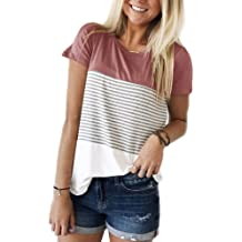 0f239dd86766b YunJey Short Sleeve and Long Sleeve Round Neck Triple Color Block Stripe T- Shirt Casual
