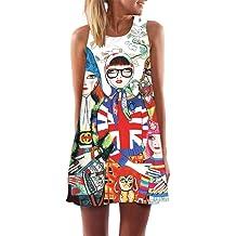 f2b327685a9 Women Boho Sleeveless Shift Mini Dress ❤❤ Summer Casual Crew Neck Printed  Vintage Tunic Aline