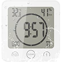 Black Waterproof for Water Splashes Large Display Show Calendar Month Date Temperature Humidity with Suction Mount ConpConp Digital Bathroom Shower Clock Hole Stand
