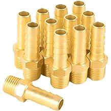 1//4 x 1//4 NPT Male Hex Nipple Adapter Coupler Joytube 10 Pcs Brass Pipe Fittings