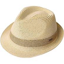 5649f2917a9761 Packable Straw Fedora Panama Sun Summer Beach Hat Cuban Trilby Men Women  55-61cm