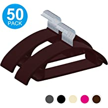 Ultra Thin Space Saving with Heavy Duty 360 Swivel Chrome Hook Non-Slip Suit Clothes Hangers Coat Hangers Brown 50-Pack IEOKE Premium Velvet Hangers