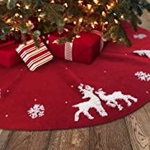 Large Faux Silk Tree Collar with Embroidered Sequins Country Rustic Indoor Xmas Decorations Meriwoods Christmas Tree Skirt 48 Inch Burgundy Red