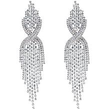 d1a278ae3 CHRAN Silver Teardrop Crystal Long Tassels Dangle Earrings Sparkling  Rhinestone Ladies Gifts