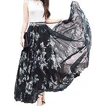 dc3baa0da202 Afibi Women Full/Ankle Length Blending Maxi Chiffon Long Skirt Beach Skirt