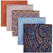 SHLAX/&WING 5 Pieces Assorted Mens Silk Pocket Square Handkerchiefs Set