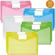 5 Colors YANSHON 25 Pcs Fastener Folders Pouches Poly Fastener Envelope File Bag A4 Clear Envelope Pouch