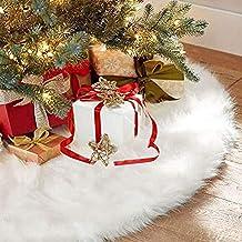BININBOX Christmas Tree Skirt 48 Inch Christmas Plush Tree Skirt Winter Large Snowy White Faux Fur Christmas Tree Mat for Xmas Tree Decorations and Ornament