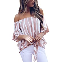 99930397fc14b Asvivid Women s Striped Off Shoulder Bell Sleeve Shirt Tie Knot Casual  Blouses .