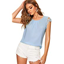 7c906a9fc9 SheIn Women's Casual Cut Out Scallop Hem Cap Sleeve Tops Blouse