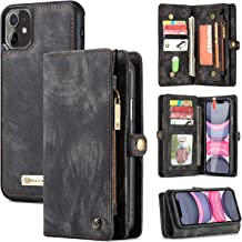 Black YIKATU iPhone 11 Wallet Case,6.1 Inch Leather Case with Card Holder,2 in 1 Premium Leather Zipper Detachable Magnetic 8 Card Slots Money Pocket Clutch for Women