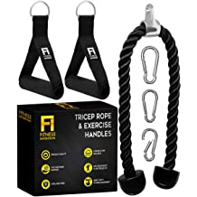 Lestino Single Grip Tricep Rope with Snap Hook Black 13 in 33 cm Pull Down Bicep Cable Exercise Cable Machine Attachments