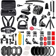 Navitech 50-in-1 Action Camera Accessories Combo KIt with EVA Case Compatible with The Topop OD009B-SVESK3 Toshiba Camileo X-Sports Uvistar Sports Action Cam