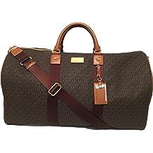 11163d357eb9 Michael Kors Michael Kors Leather Travel Logo Duffle Large Bag Printed  Duffel Luggage