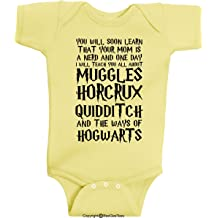 1514ddd73 BeeGeeTees You Will Soon Learn That Your Mom is A Nerd Funny Wizard Baby  Clothes One