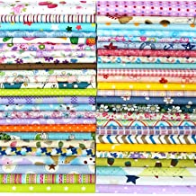 Gnognauq 16 Pcs Bright Solid Colors Printed Cotton Fabric Bundles Assorted Patchwork Cloth DIY for Sewing Quilting and Crafting