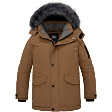 ZSHOW Boys Hooded Winter Padded Coat Thick Fleece Lined Quilted Parka Windproof Puffer Jacket