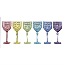 Marquis by Waterford Brookside Pastel All Purpose Wine Set of 6 Yellow//Lime//Pink//Lavender//Light Blue//Teal 11 oz
