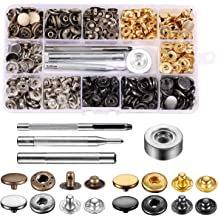 JAPENG 240 Sets 12 Colors Hollow Snap Fasteners Kit,9.5mm Metal Buttons Studs with Setting Tool for Childrens Bodysuit,Clothing,DIY Crafting