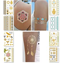 a72a288961bb5 Metallic Temporary Tattoos for Women Teens Girls - 8 Sheets Gold Silver  Temporary Tattoos Glitter Shimmer Designs Jewelry Tattoos - 100+ Color ...  BHD 6