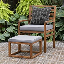 Walker Edison Furniture Company Outdoor Patio Wood Ladder Back Rocking Chair All Weather Backyard Conversation Garden Poolside Balcony Set of 1 White Wash