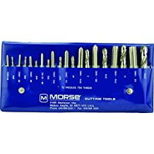 Morse Cutting Tools 38211 Metric Straight Flute Hand Tap Set High-Speed Steel 4 Flutes M6 x 1.00 Size Bright Finish D5 Pitch Diameter Limit