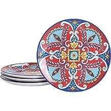 Microwave /& Dishwasher Safe 8.75 inch Bico Spring Eucalyptus Ceramic Salad Plates Set of 4 Appetizer for Salad