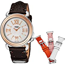 ab412bd2253d Fendi Selleria Womens Watch Set with Interchangeable Bands - Mother of  Pearl Face Swiss Dress Watch - Brown, Orange, Pink, and White Leather .
