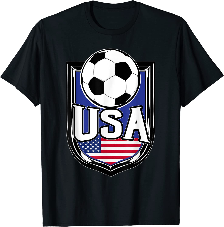 USA Soccer Ball T-Shirt American Flag Football Tee